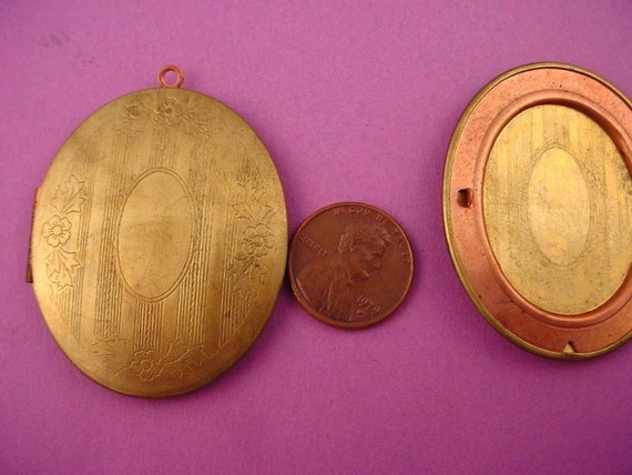 2 Vintage brass large Oval  Lockets with floral etching design