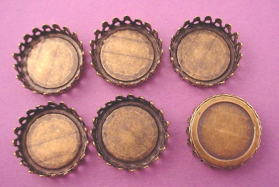 6 brass ox crown bezels settings cups 18mm