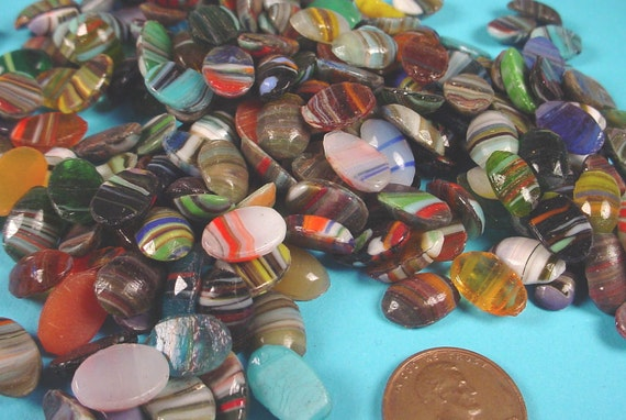 200 Vintage Glass Multicolored Stones 12x8mm