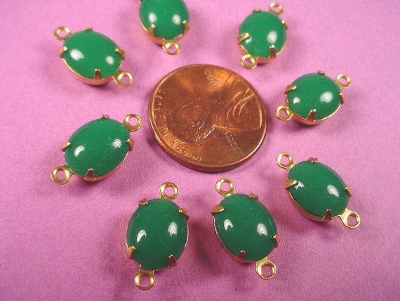 6 Vintage Jade Glass Oval Connectors 10x8 CB Brass
