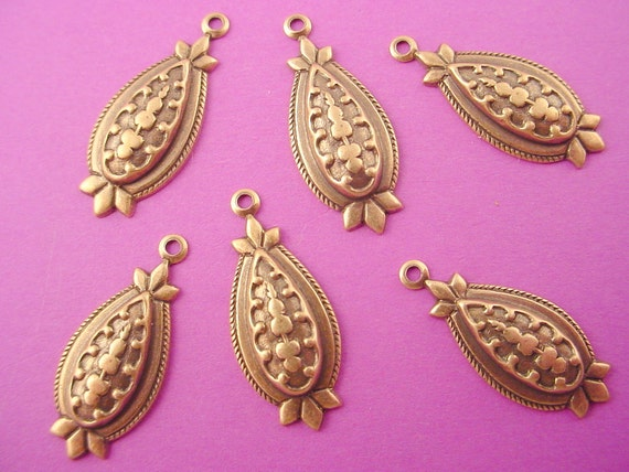 6 brass ox embossed victorian art  nouveau domed oval scarab charms 21mm
