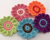 Crocheted 12 Petal Flowers- Set of 5