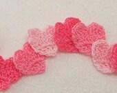 Crochet Pink Heart Appliques