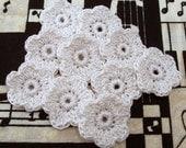Crochet Flower Appliques - Antique White