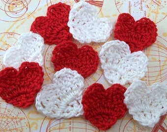 Crochet Hearts Red and White