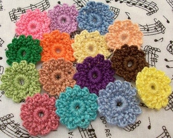 Crochet Small Flowers/Scrapbook Flowers/Doll Clothes Flowers