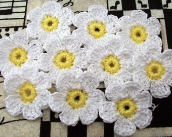 Crochet White Daisies|Set of 10