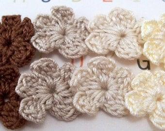 Crochet Flower Appliques - Browns