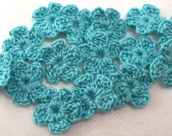 Aqua Crochet Flower Appliques|Set of 15