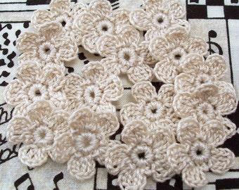 Crochet Ecru Flower Appliques