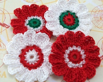 Crocheted Christmas Flower Appliques