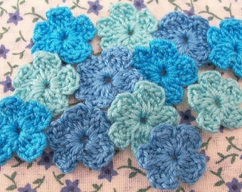 Crochet Aqua, Turquoise Flower Appliques