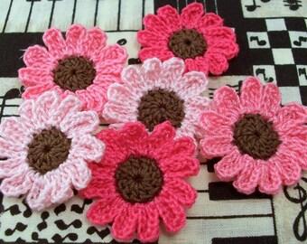 Crochet Pink Flower Appliques