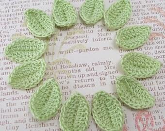 12 Crochet Leaves - Wasabi Leaf Appliques