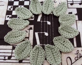 Crochet Leaves Frosty Green X 12