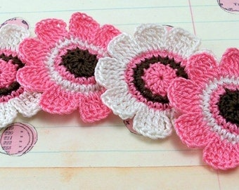 Crochet Flower Appliques - Pink White Brown
