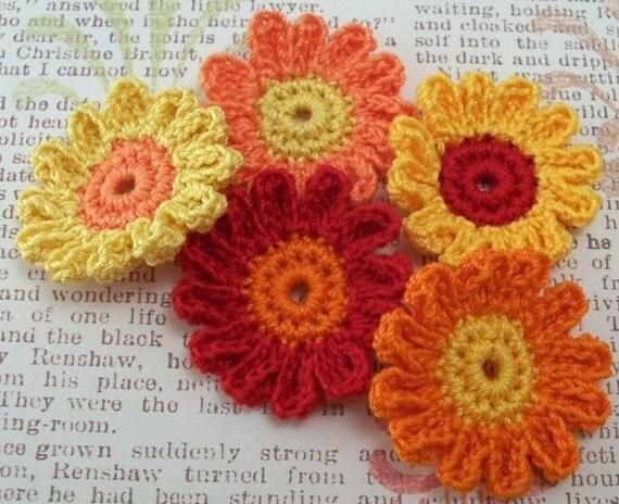 Crocheted Fall Flowers - 12 Petals