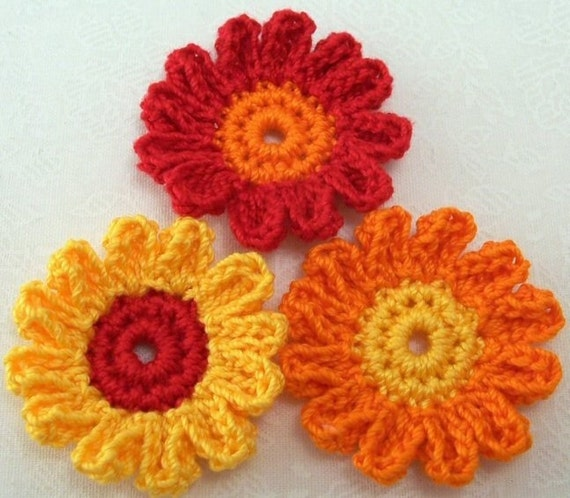 Crocheted Fall Flowers 12 Petals From Finethreads On