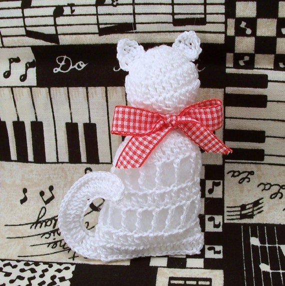 Crochet Cat Ornament White Cat Ornament