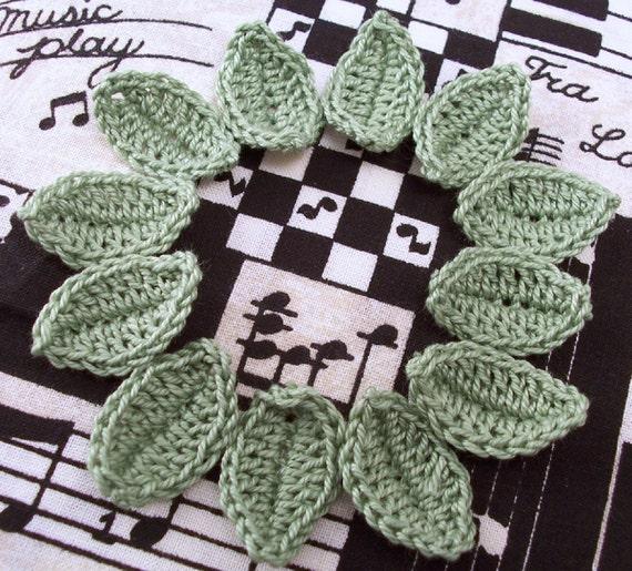 Crocheted Leaves - Avocado