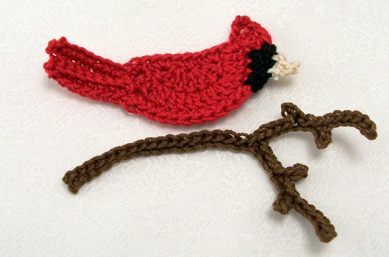 Cardinal and branch crochet applique - Appliques flos ...