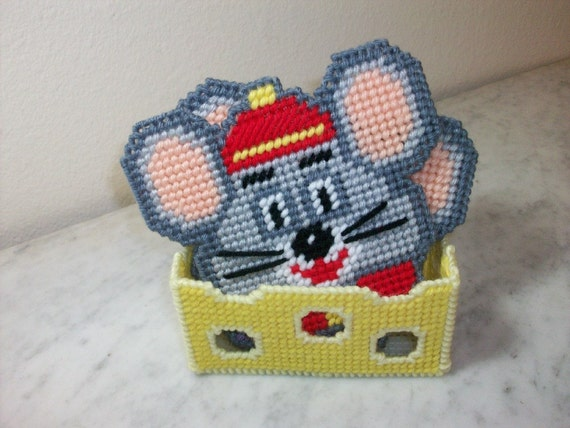 Mouse Design Drink Coasters Set of 4 in a Swiss Cheese Holder - handmade with Plastic Canvas and Yarn