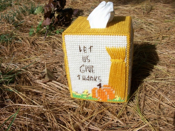 Harvest Time Tissue Box Cover - Let Us Give Thanks - Boutique Size - Handmade with Plastic Canvas and Yarn