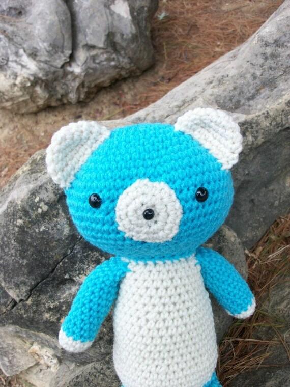 Turquoise Aqua Amigurumi Plush Toy Teddy Bear - Handmade in Crochet