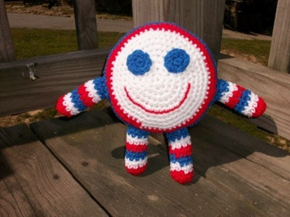 Smiley Face Doll in Red, White and Blue - A Happy Hugable Plush Toy Doll in Crochet