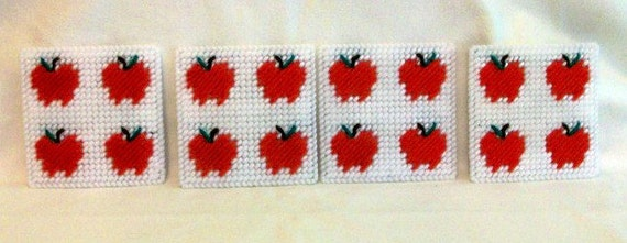 Apple Design Drink Coasters - Apple Image Beverage Coasters - Apples Mug Rugs - Matching Apple Magnet
