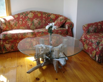 Glass Top Driftwood Coffee Table (48 inch Glass top)