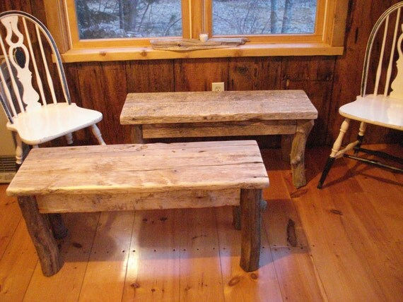 1 Pair Of Driftwood Benches 42 X 15 X 17h
