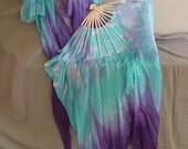 """Fighting Fish Silk Fan Veils, 36"""" x approx 60"""" in Aqua and Purple"""