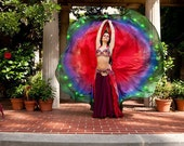 Large half circles belly dance silk veil Red Peacock design