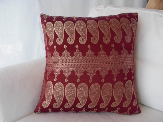 Ooak Handsewn 17 Inch Pillow Cover In Shades of Crimson And Gold Using Sari Silk