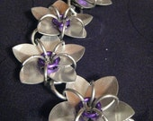 silver and purple scale maille flower bracelet