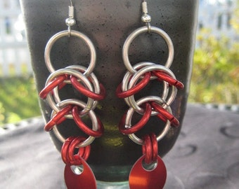 red scaled shaggy drops earrings