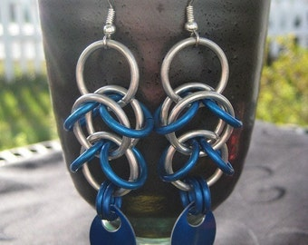 blue scaled shaggy drops earrings
