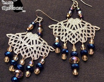 Fancy Fans -- Antiqued Silver and Blue Sparkly Dangle Earrings