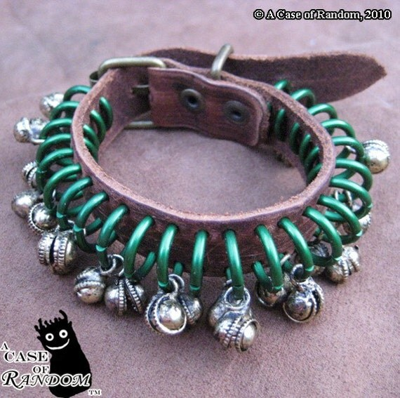 Open Spaces--green and bronze steampunk leather bracelet