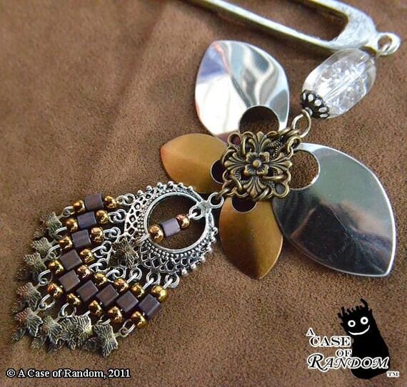 Steel Butterfly--brass and bells super fancy hair fork