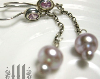 Pink Pixie Earrings Long Silver Chain With Magic Pearls Fairy Tale Wedding