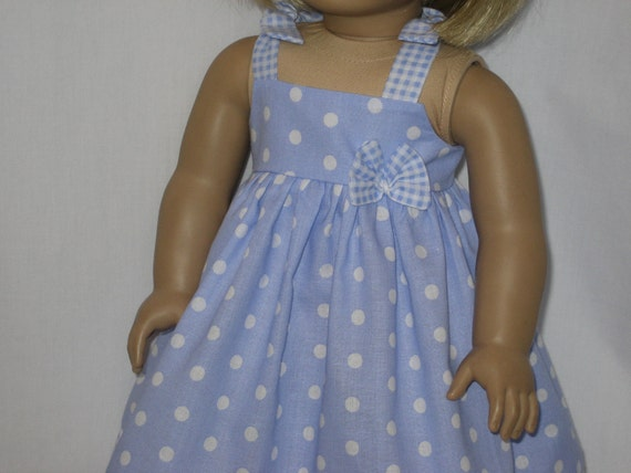 American Girl Doll Clothes - Periwinkle  Dot Sundress