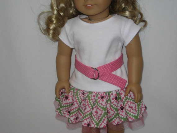 American Girl Doll Clothes - White Blossoms Flirty Skirt Outfit