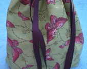 Small Project Bag with FREE SHIPPING Butterflies and Flowers
