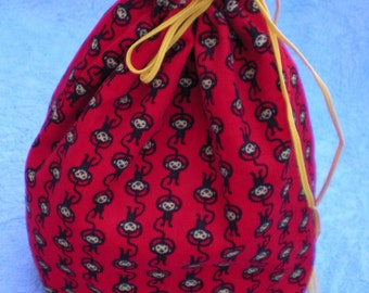 Small Project Bag--  Happy Monkeys---Knitting, Sewing, Crafting