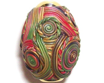 Kaleidoscope Egg polymer clay Millefiori design hand laid nbr25