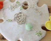 Peridot Roses in the Wind Sterling Silver Necklace