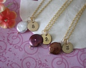 3 BRIDESMAID GIFTS Pearl & Initial Charm Gold Filled Necklace