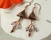 Purples & Crystals n Copper Earrings, Copper Dangle Earrings